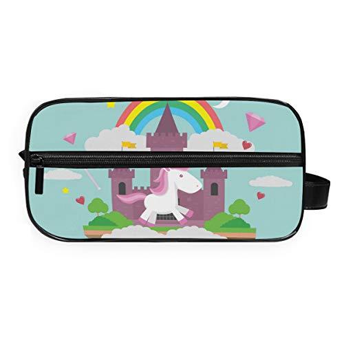 DEZIRO - Neceser portátil de viaje con diseño de unicornio y castillo para bebé, impermeable, organizador de maquillaje, bolsa de cosméticos para mujeres y niñas