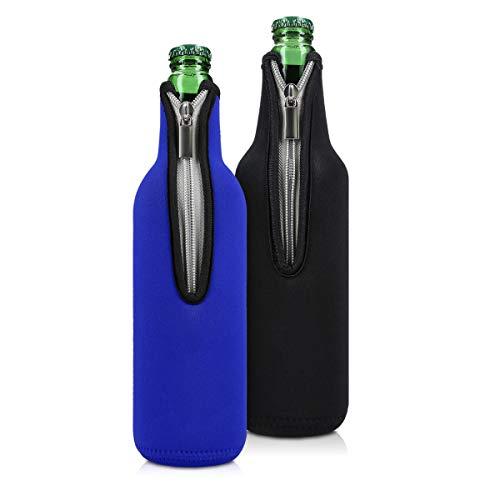 kwmobile 2x 330-500ml Flasche Flaschenkühler - für Bier und andere Getränke - aus isoliertem Neopren - Kühler in Schwarz Blau