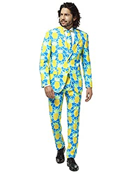 Opposuits Pineapple Print Suit   Unisex Slim Fit   Size 44   Includes Matching Blazer Jacket Pants & Tie   Perfect Tropical Party Clothing