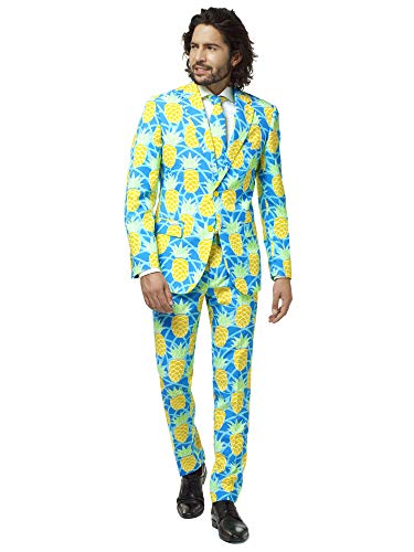 OppoSuits Herren Crazy Prom Suits for Men – Shineapple – Comes with Jacket, Pants and Tie In Funny Designs Männeranzug, Blue, 52
