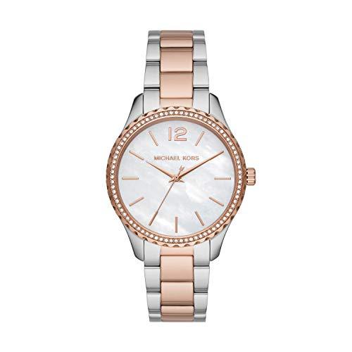 Michael Kors Women's Layton Quartz Watch with Stainless Steel Strap, Silver, 18 (Model: MK6849)
