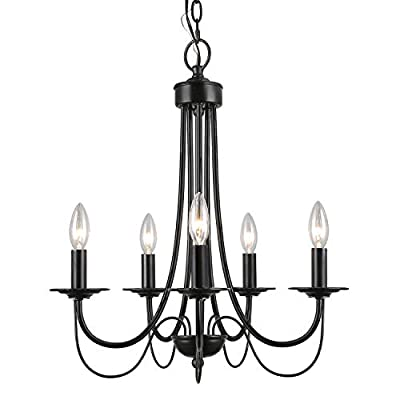 LALUZ Black Chandelier Farmhouse Small 5-Light Fixture with 2-Layer for Dining & Living Room, Bedroom, Kitchen and Foyer