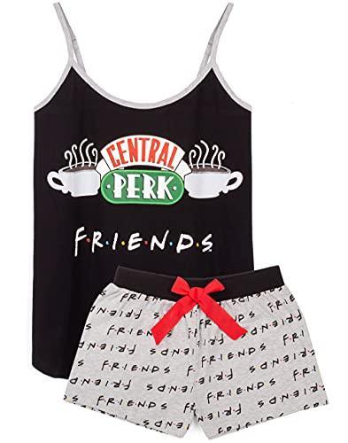 FRIENDS Amici Pigiama Donne Central Perk Perk Cafe Black Glest Gilet Shorts Ladies Pjs XL