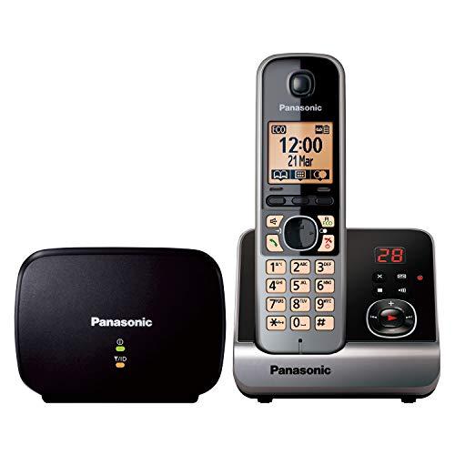 Panasonic KX-TG6761GB Schnurlostelefon mit DECT Repeater (Telefonverstärker für verbesserte Reichweite, Freisprechen, Telefon mit AB) schwarz