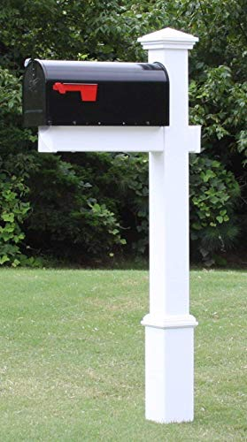 4Ever Products The Homestead Mailbox with Post Included, Black Metal Mailbox with White Vinyl Post Combo, Complete System