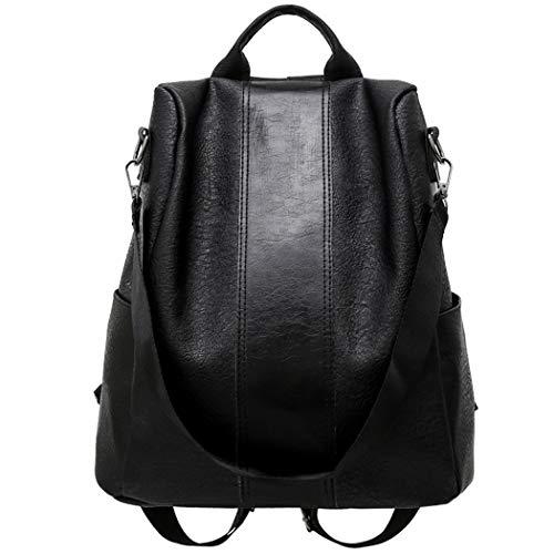 Bageek Zaino da donna antifurto in pelle PU zaino per la scuola borsa da donna borsa a tracolla, Nero (Nero), Medium