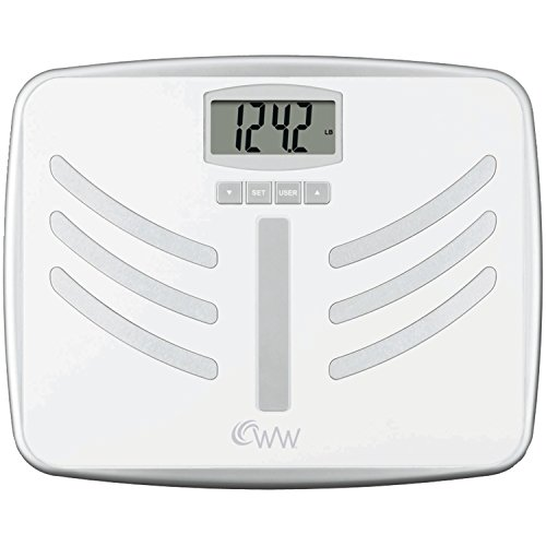 WW Scales by Conair Body Analysis and Tracker Bathroom Scale  - Measures Body Fat, BMI, Body Water, Bone Mass, 10 User Memory - Recalls 5 Weights for Each User, White
