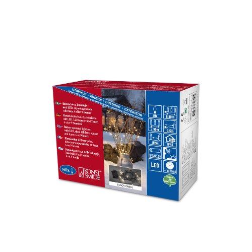 Konstsmide 3728-100 LED Lichterkette / für Außen (IP44) / Batteriebetrieben: 2xD 1.5V / mit Schalter, Lichtsensor und 6h u. 9h Timer / 80 warm weiße Dioden / schwarzes Kabel