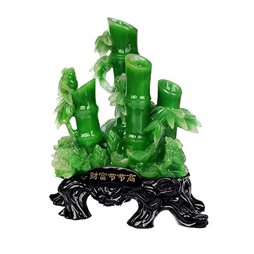 JY&WIN Adornos Chinos de la Fortuna Buddah para Interior, bambú de la Suerte y Estatua de Rana de Dinero, atrae Riqueza y Buena Suerte, decoración Feng Shui para Oficina o hogar, Grande