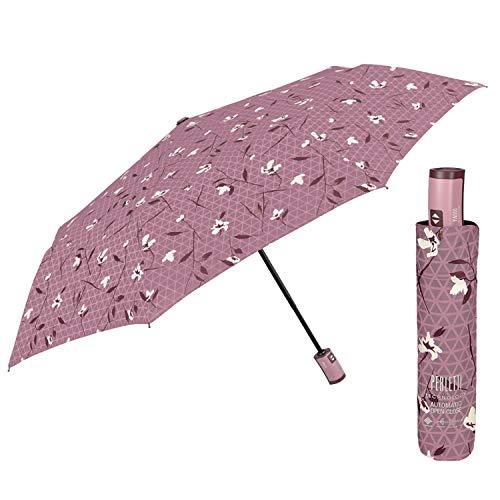 Paraguas Mujer Plegable con Fantasía Floreal - Sombrilla Lluvia Abre y Cierra...