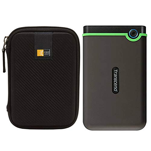 "Transcend StoreJet 25M3C 2.5"" Anti-Shock Rugged Portable External Hard Drive 2TB (Dark Grey) + Compact Hard Drive Case"