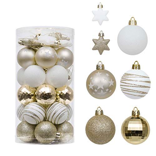 Valery Madelyn 35Pcs Bolas de Navidad de 5cm, Adornos de Navidad para Arbol, Decoración Navideños Plástico Blanco y Dorado, Regalos de Colgantes de Navidad (Elegante)