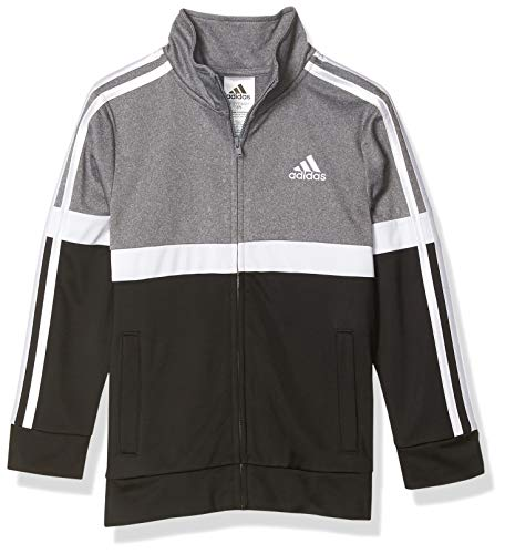 adidas Boys' Tricot Active Track Warm-Up Jacket, Split Gray, S(8)