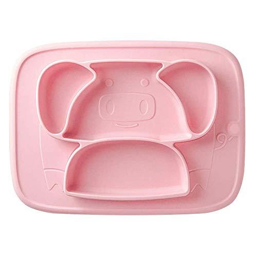 Adesign Placas bebé, de una Sola Pieza de la Placa de bebé for niños pequeños y niños, sin BPA Fuertes Placas de succión for niños pequeños, niños Integrado de Silicona Rejilla de la Placa Vajilla