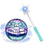 VICTOREM Boomerang Spinner, Mini Drone Hélicoptère pour Enfants Adultes UFO Balle Volant Jouets Interactifs avec Contrôleur Magique & Lumières Scintillantes RGB pour Extérieur Intérieur Cadeau (Bleu)
