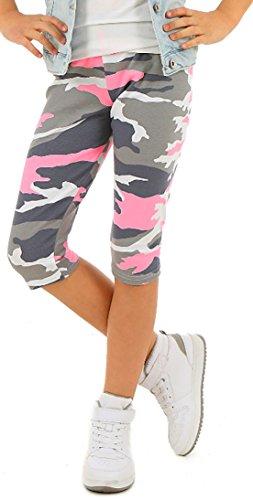ModaFresca Solvera Ltd Baumwolle Leggings für Mädchen Frühling Sommer II Moro II 3/4 Lange Leggings Baby Fitness Hose Kinder Sport 116-158 (-Moro Rosa, 128-134)