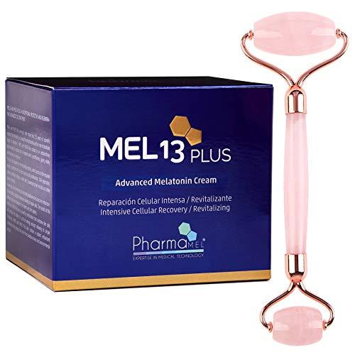 Pharmamel MEL 13 Plus Crema Facial con Melatonina y CoQ10, Mel13 Reparación Celular Intensa, 50ml y Rodillo de Masajeador Facial Antiedad Antienvejecimiento