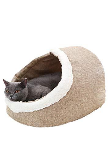 Abnehmbar Und Waschbar, Lamm Cashmere Warm Pet Kennel, Halb-eingezäunt, Katzentoilette (47 * 32 * 36CM,Light Brown)