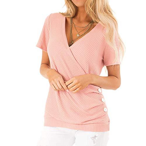 VEMOW Camisa Mujer Tops Blusas Chaleco con Cuello Cruzado con Cuello en V y Camisa de Manga Corta para
