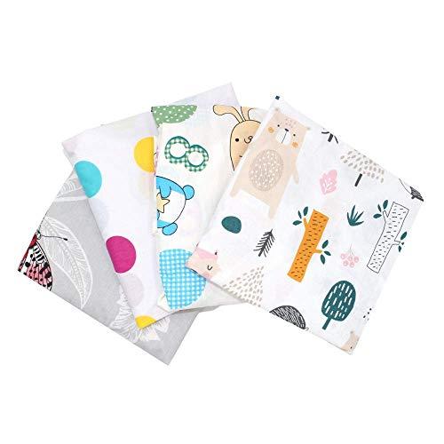 Callyna - Juego de 4 sábanas bajeras para cuna de 120 x 60 cm, estándar, 100 % algodón, 100 % de la Unión Europea, sin colorantes químicos, colores