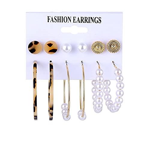 FEARRIN Pendientes Joyas Pendientes Brincos Conjunto Pendientes de Perlas de Concha para Mujer Pendientes de aro con borlas de Leopardo Joyería Kolczyki Femenina LNI0807-2