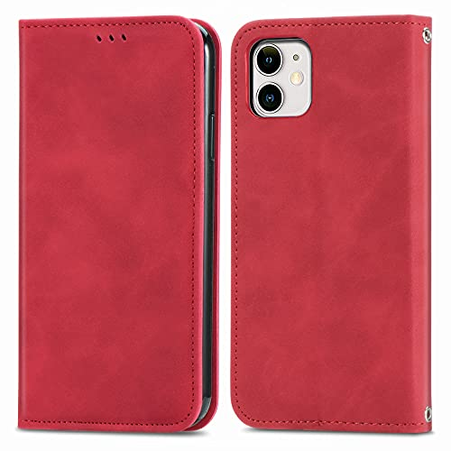 BAOFA Teléfono Flip Funda Shell Flip Wallet Funda para iPhone 11 (6.1'), Cubierta de Cuero de Cierre magnético con Portada de Soporte de Tarjeta Cubierta de protección Funda Protectora (Color : Red)