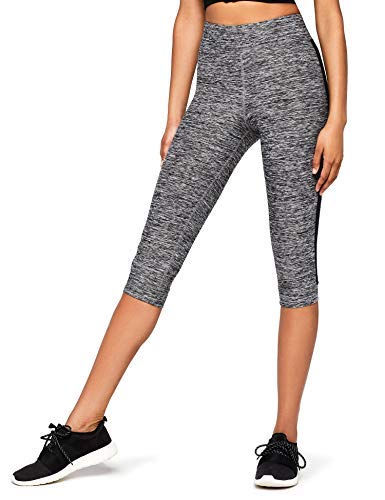 Marca Amazon - AURIQUE Leggings de Deporte con Banda Lateral Estilo Capri Mujer, Gris (Grey Marl), 38, Label:S