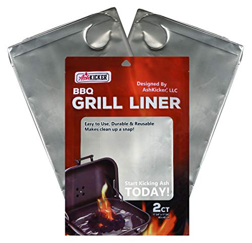 AshKicker Reusable BBQ Grill Liner   Grill Cleaning Accessory   4X Stronger Than Aluminum Foil   2 Count