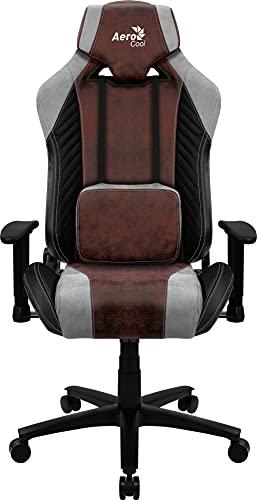 Aerocool BARONRD, Silla Gaming, AeroSuede Transpirable, Respaldo Ajustable, Rojo