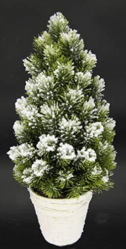 Flair Flower Sztuczna mini choinka z śniegiem w doniczce z ceramiki śnieg, sztuczny śnieg, sztuczna jodła, mała choinka dekoracja bożonarodzeniowa, zielona/biała, 16 x 16 x 38 cm