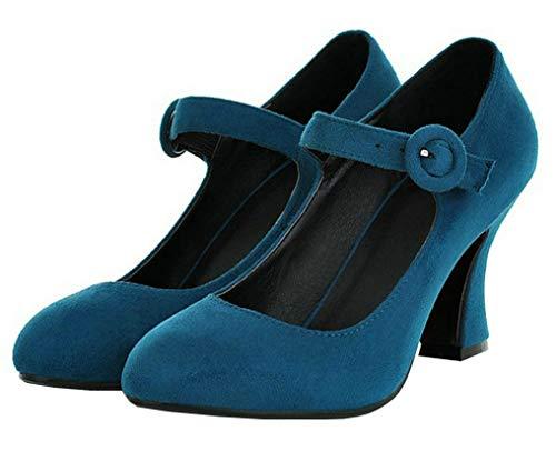 Mary Jane Halbschuhe High Heels Pumps mit Blockabsatz und Riemchen 8cm Damen Schuhe(Türkis,39)