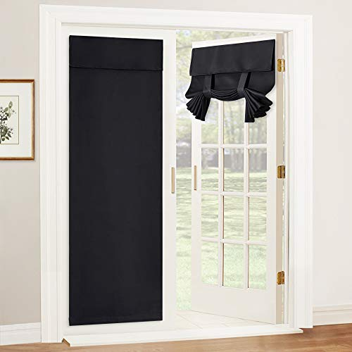 RYB HOME Blackout Curtains Door - Thermal Insulated Light Block Energy Efficiency Privacy French Door Sidelight Double Door Curtain Tricia Window Shades, 26 x 69 inch, 1 Pair, Black