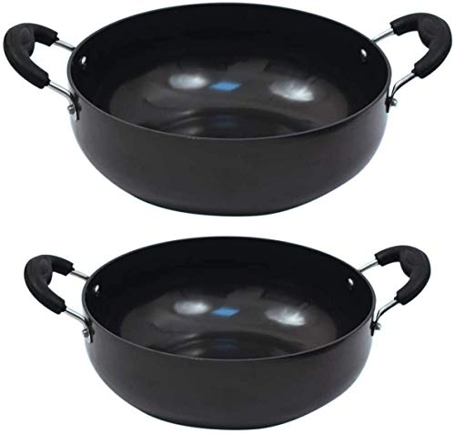 Set Of 2 Non Stick Hard Anodized Kadai For Cookware Deep Fry Pan Aluminium Frying pan Daily Use Home/Kitchen Non Stick Wok ( 50 oz & 42 Oz)
