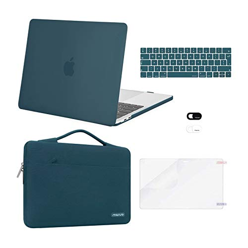 MOSISO Compatible with MacBook Pro 13 inch Case 2016-2020 Release A2338 M1 A2289 A2251 A2159 A1989 A1706 A1708, Plastic Hard Shell Case&Bag&Keyboard Skin&Webcam Cover&Screen Protector, Deep Teal