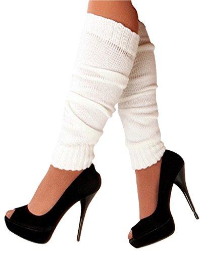 krautwear Damen Beinwärmer Stulpen Legwarmers Overknees gestrickte Strümpfe 80er Jahre 1980er Jahre, 1xweiss, Einheitsgröße