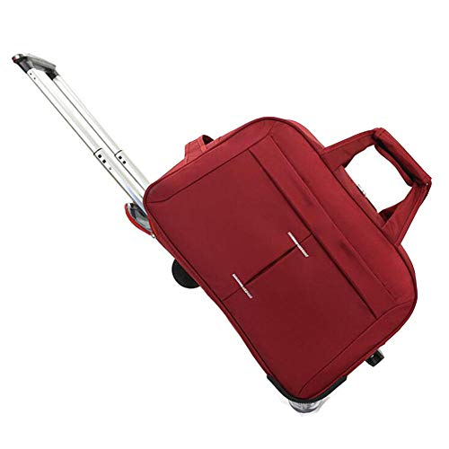 MFM Trolley travel bag, foldable large capacity Oxford cloth bag, multifunctional men's and 's travel bag-Wine red_24 inch