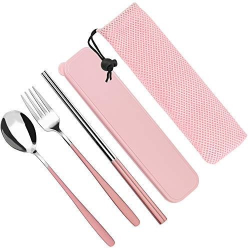 SNAGAROG 5 Stück Edelstahl Bestecksets Tragbare Utensilien Rosa Reisebesteck Outdoor Camping Geschirr Set mit Essstäbchen, Löffel, Gabel Und Rosa Etui & Tasche