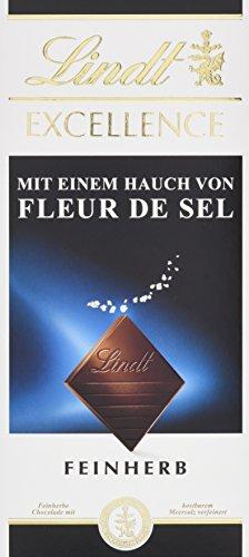 Lindt Excellence Meersalz, feinherbe Schokolade mit Meersalz (Fleur de Sel), glutenfrei, laktosefrei, 4er Pack (4 x 100 g)