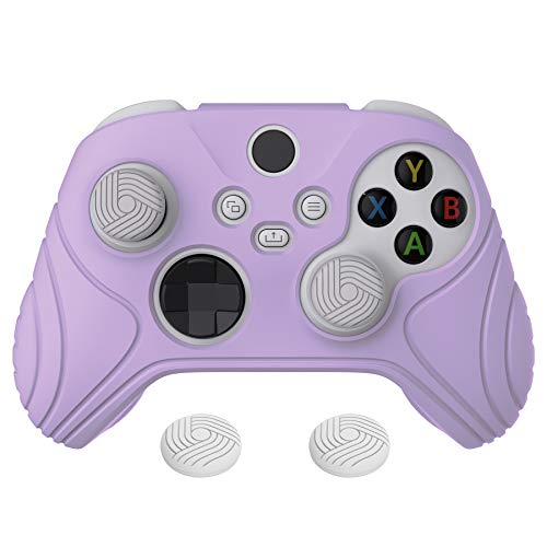 eXtremeRate PlayVital Samurai Edition Mauve Purple Anti-Slip Controller Grip Silicone Skin, Ergonomic Soft Rubber Protective Case Cover for Xbox Series S/X Controller with White Thumb Stick Caps