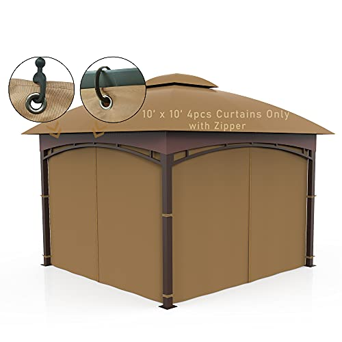 Gazebo Privacy Curtain 10' x 10' 4-Panels Universal Replacement sidewall Khaki (Only 4Pieces Curtain)