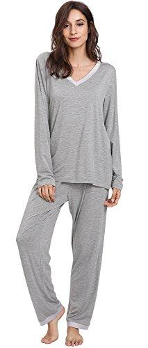 GYS Women's Bamboo Long Sleeve V Neck Pajama Pants Set (L, Heather Grey)