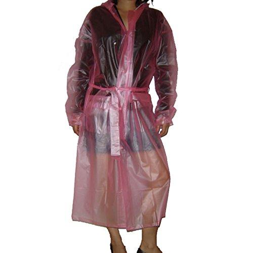 JnDee Langer Regenmantel mit Kapuze, unisex, glatt, weich, durchsichtig, wasserdicht, aus PVC/Vinyl Gr. XXL, rose