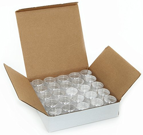 Vivaplex, 50, Clear, Empty, 5 Gram Plastic Pot Jars, Cosmetic Containers.