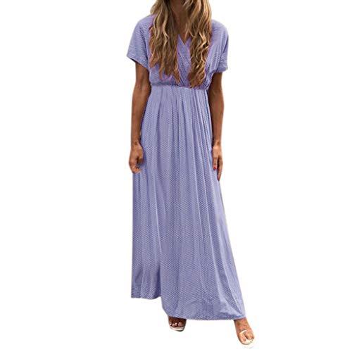 Damen Casual Kleid, Bohème, Bedruckt, gepunktet, langes Strandkleid mit kurzen Ärmeln und V-Ausschnitt, Wasit Kleid Empire Baumwolle und Polyester Maxi Dress Cebbay (S-2XL) Gr. XXL, violett