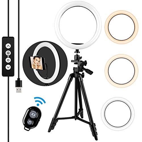 amzdeal 10'' Anillo de Luz LED 3 Colores 10%-100% Brillos Regulables Girar 360º Aro de Luz con Control Remoto y Soporte para Movil para Maquillaje/Videollamada/Selfie/Transmisión en Vivo