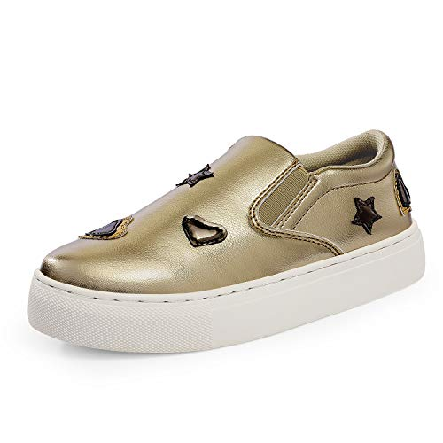 DREAM PAIRS Girls Casual Sneakers Slip-on Loafer Shoes Gold Size 13 Little Kid Hl19005k