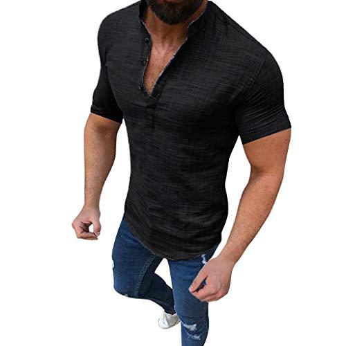 Xmiral T-Shirt Herren Einfarbig Henry Kragen Hemden Kurzarm Knopf Shirt Slim Fit Sommer Polohemd Tops Bluse Sweathshirt(Schwarz,5XL)