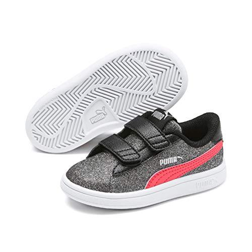 Puma Smash V2 Glitz Glam V Inf', Sneaker Bambina, Nero Black-Calypso Coral Silver, 21 EU