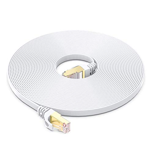BUSOHE Cable Ethernet Cat7 de 5M, Cable de Red Plano RJ45 Gigabit LAN de Alta Velocidad, Cable de Conexión a Internet de 10Gbps y 600Mhz para Switch, Rúter, Módem, Panel de Conexión, PC (Blanco)