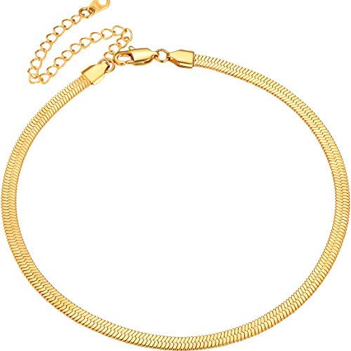Collar Dorado Herringbone Espiga de Pescado Cadena 5mm Delgada Dorada Acero Metal 38cm con 9cm Extensión Joyerías Clásicas para Hombres y Mujeres